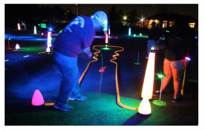 Night golf putting competitions
