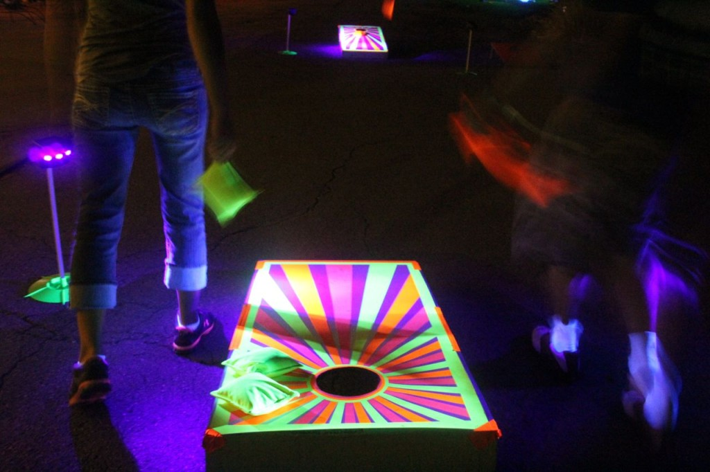 glow in the dark corn hole board game