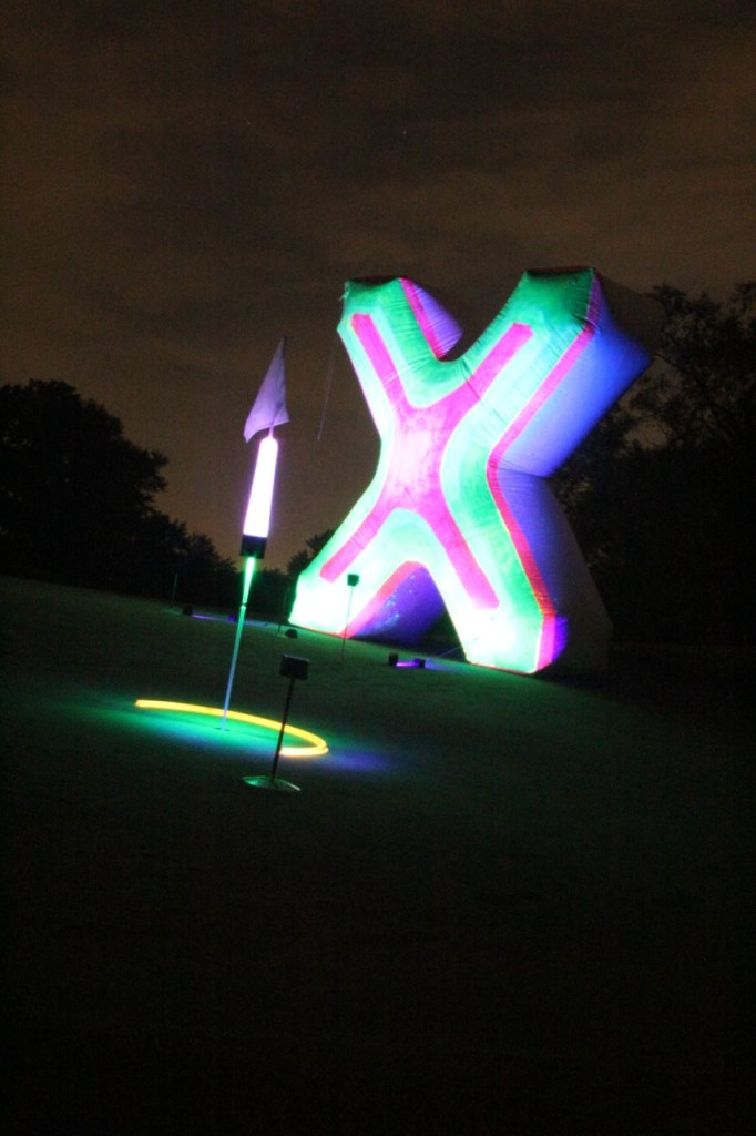 glow golf targets