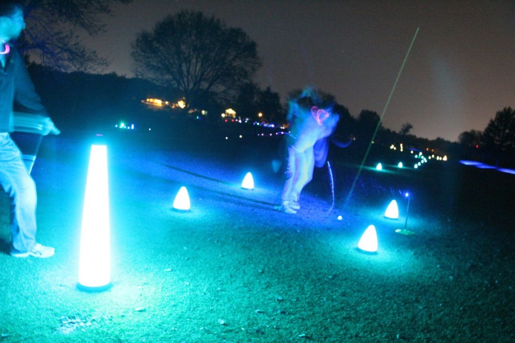 night golf tee shot
