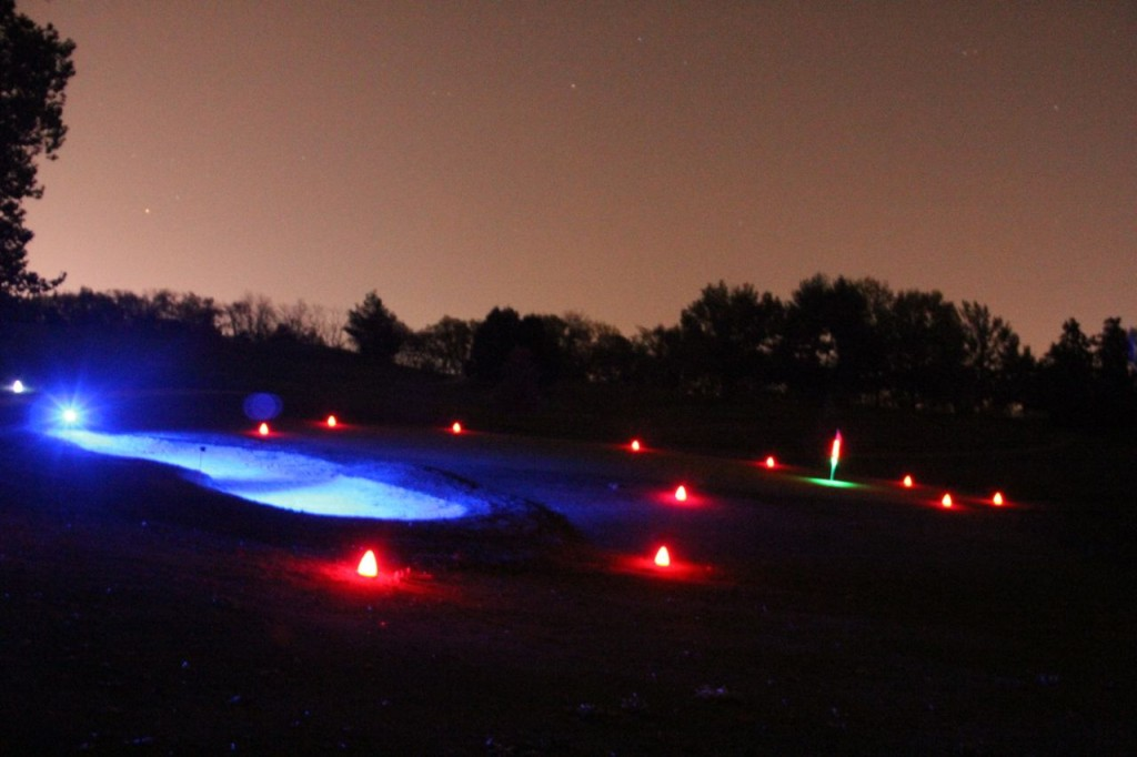 glow golf hole and shot