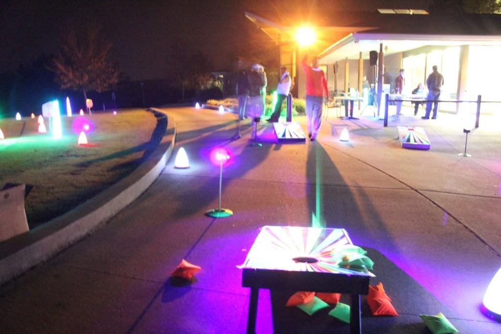 neon cornhole boards