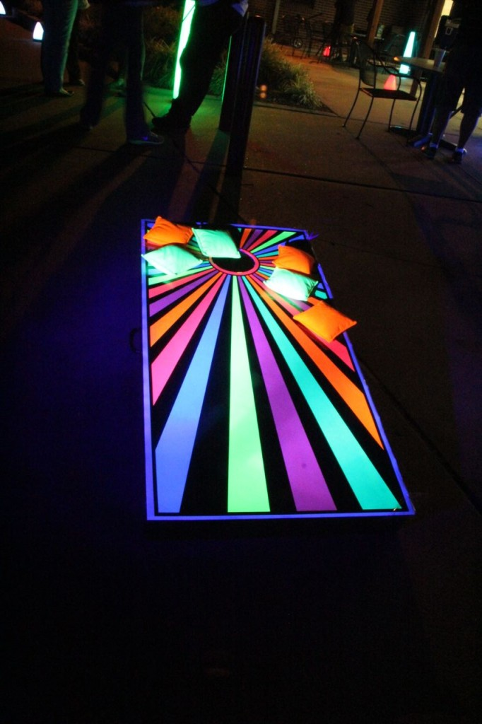 glow cornhole boards at U of Missouri